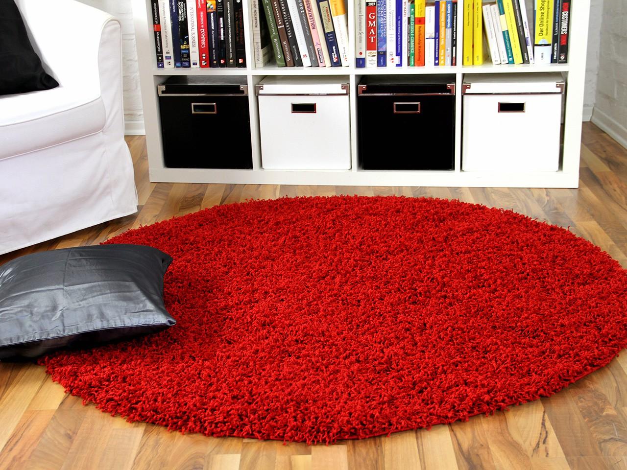 hochflor langflor shaggy teppich aloha rot rund ebay. Black Bedroom Furniture Sets. Home Design Ideas