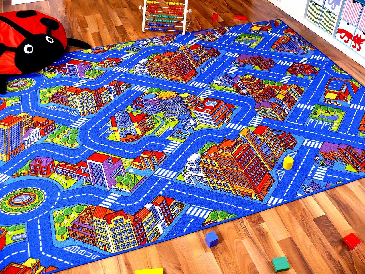 Kinder Spiel Teppich Straßenteppich 3D Big City Blau in 24