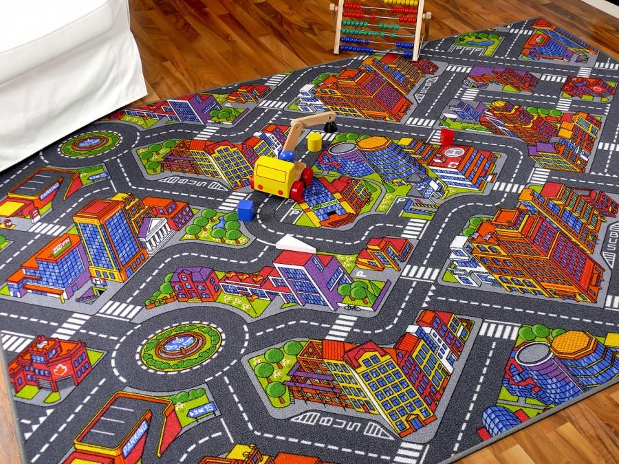 Kinder Spiel Teppich Straßenteppich 3D Big City Grau in 24