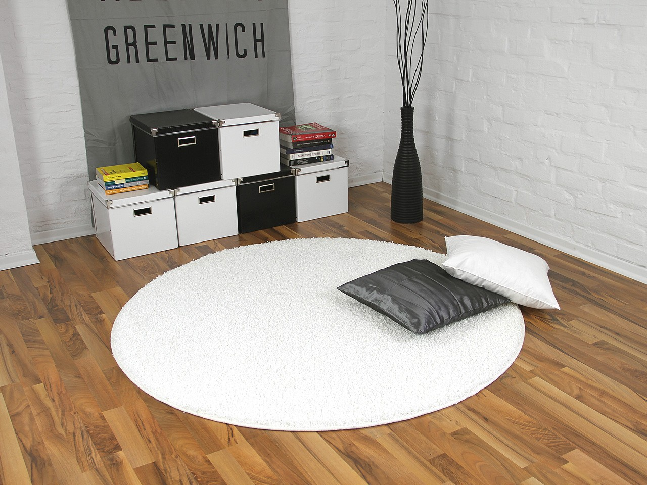 teppich hochflor shaggy premio weiss rund in 7 gr en ebay. Black Bedroom Furniture Sets. Home Design Ideas