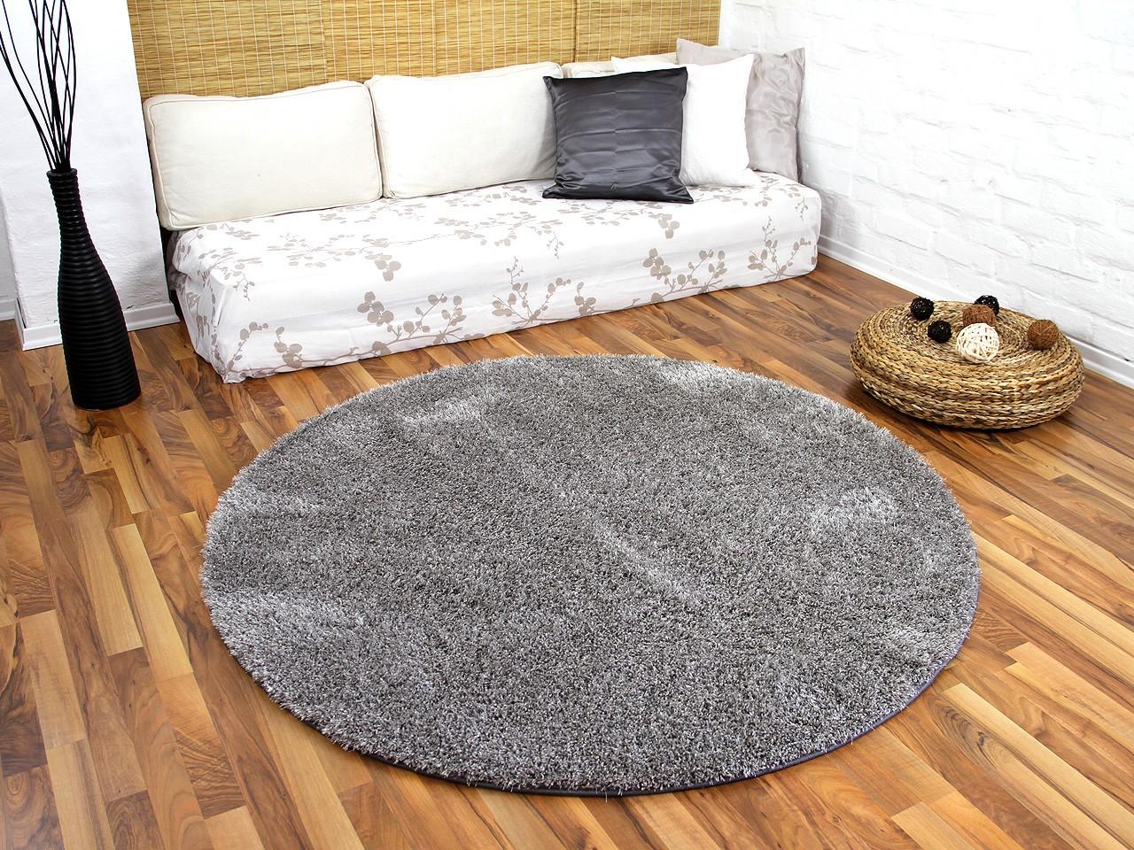 ... Rund in 7 Größen Teppiche Hochflor Langflor Teppiche Schwarz, Grau