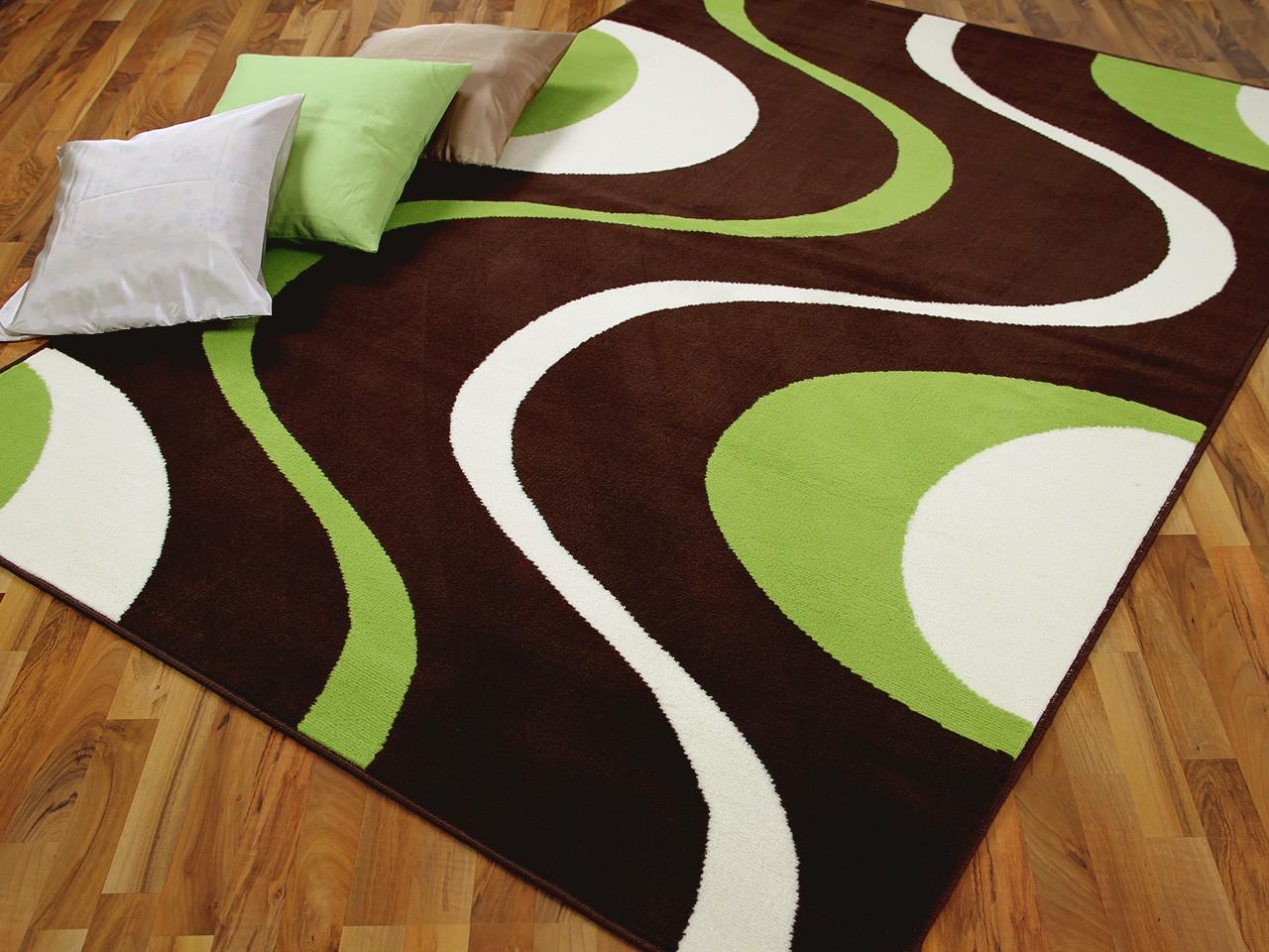 Teppich Modern Trendline Braun Grün Retro 4 Größen