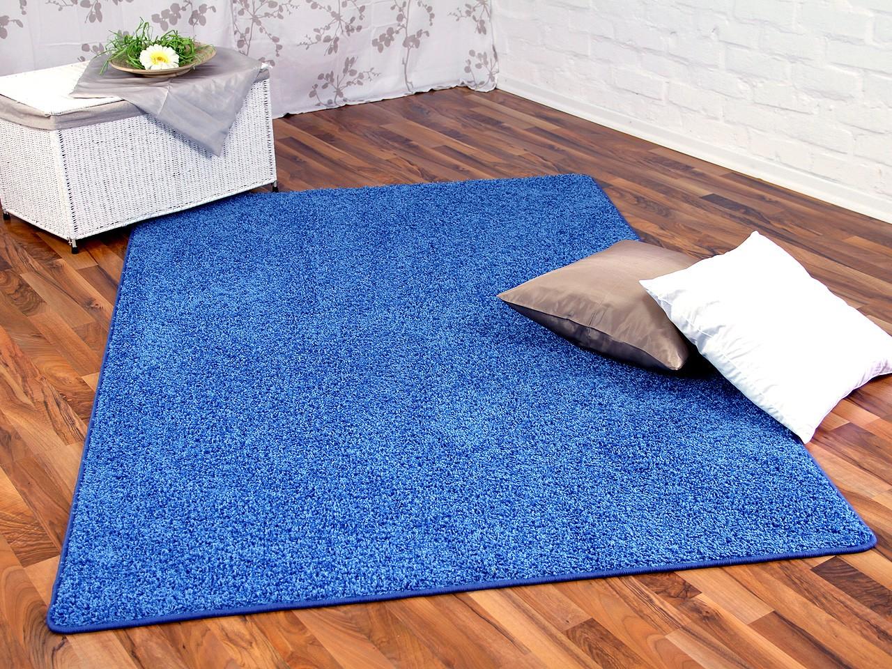 hochflor shaggy teppich prestige blau in 24 gr en. Black Bedroom Furniture Sets. Home Design Ideas