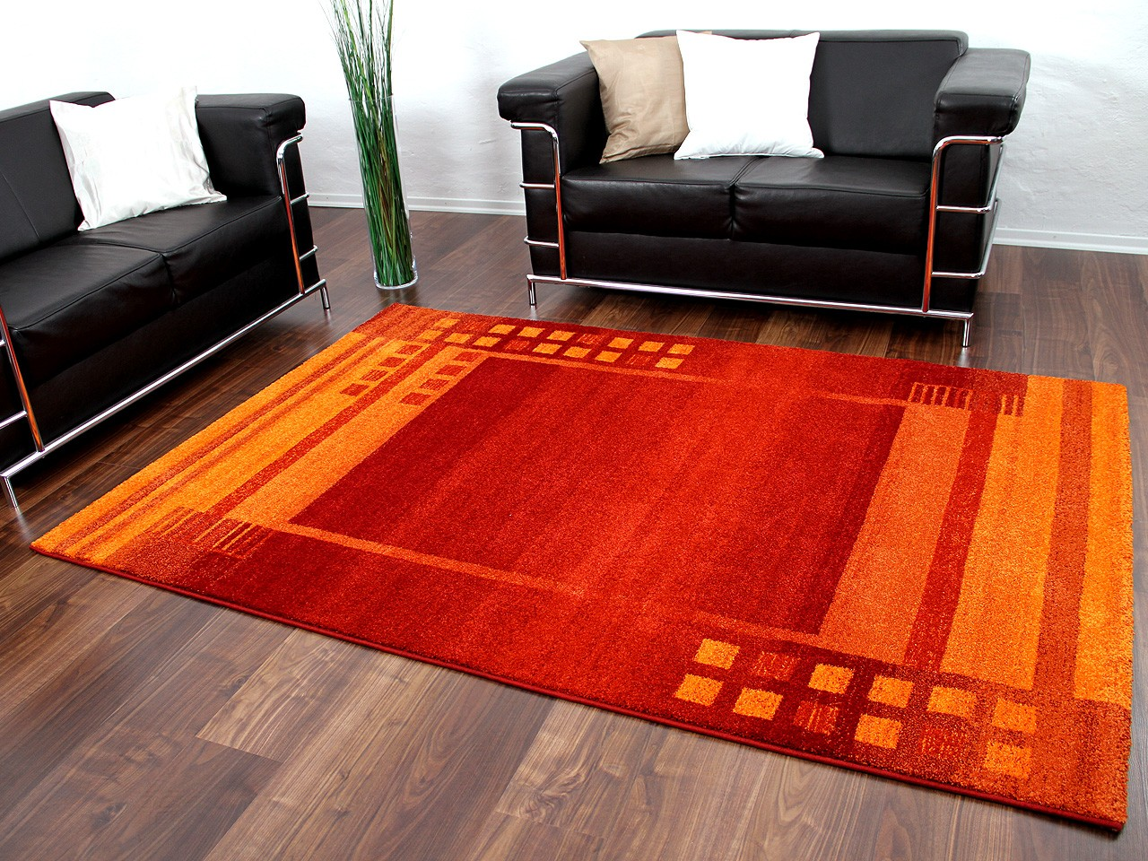 Designer Teppich Gabbeh Rot Orange Bordüre