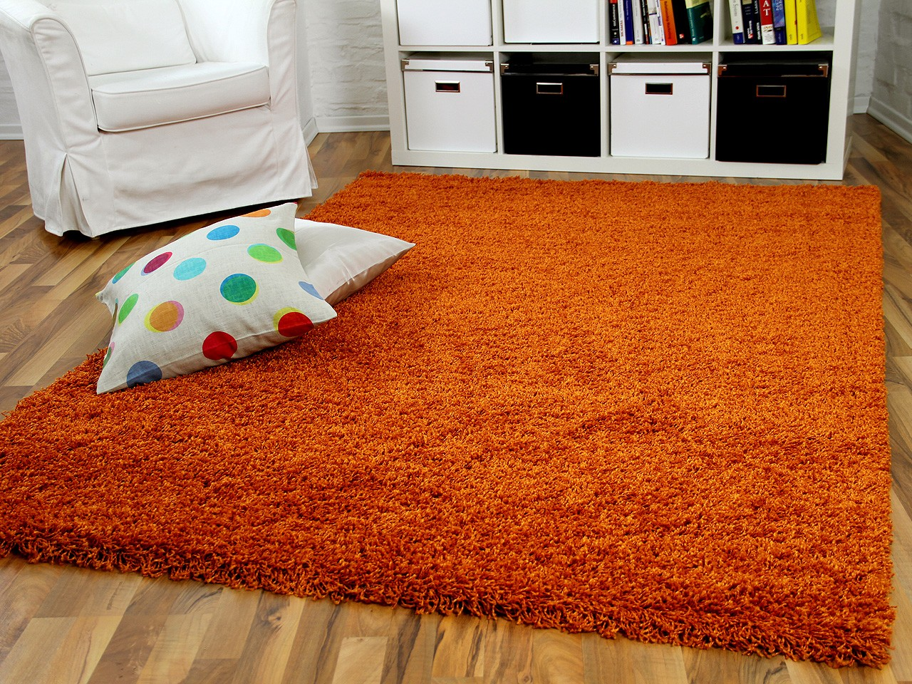 hochflor langflor shaggy teppich aloha orange ebay. Black Bedroom Furniture Sets. Home Design Ideas