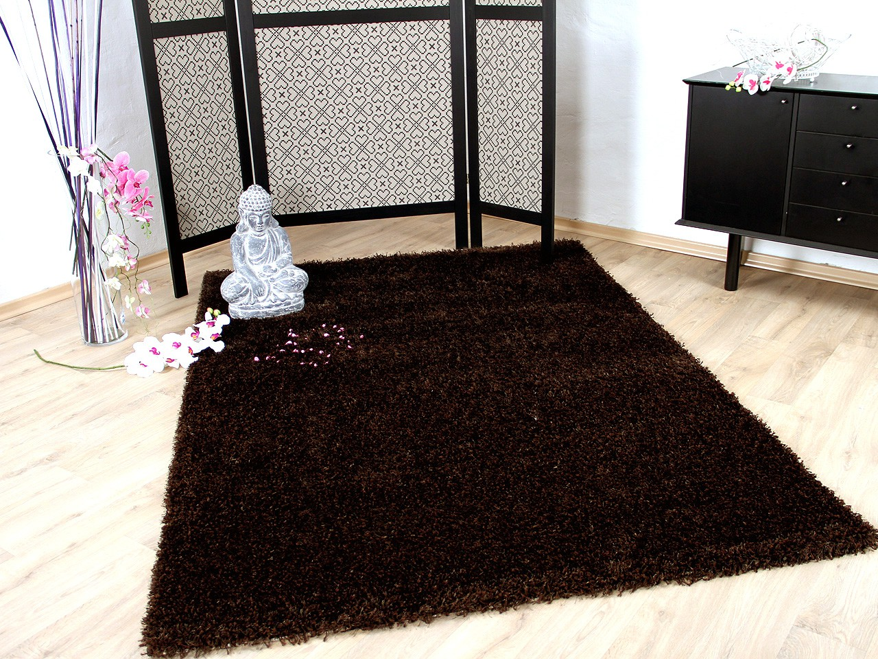 hochflor langflor shaggy teppich glamour braun teppiche hochflor langflor teppiche braun und choco. Black Bedroom Furniture Sets. Home Design Ideas
