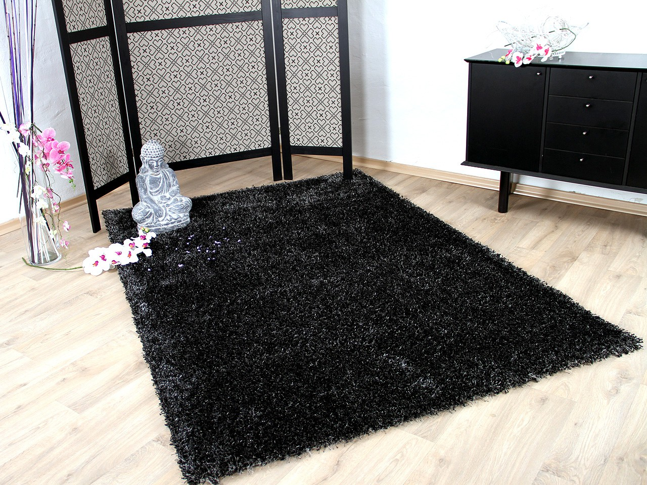 hochflor langflor shaggy teppich glamour anthrazit teppiche hochflor langflor teppiche schwarz. Black Bedroom Furniture Sets. Home Design Ideas