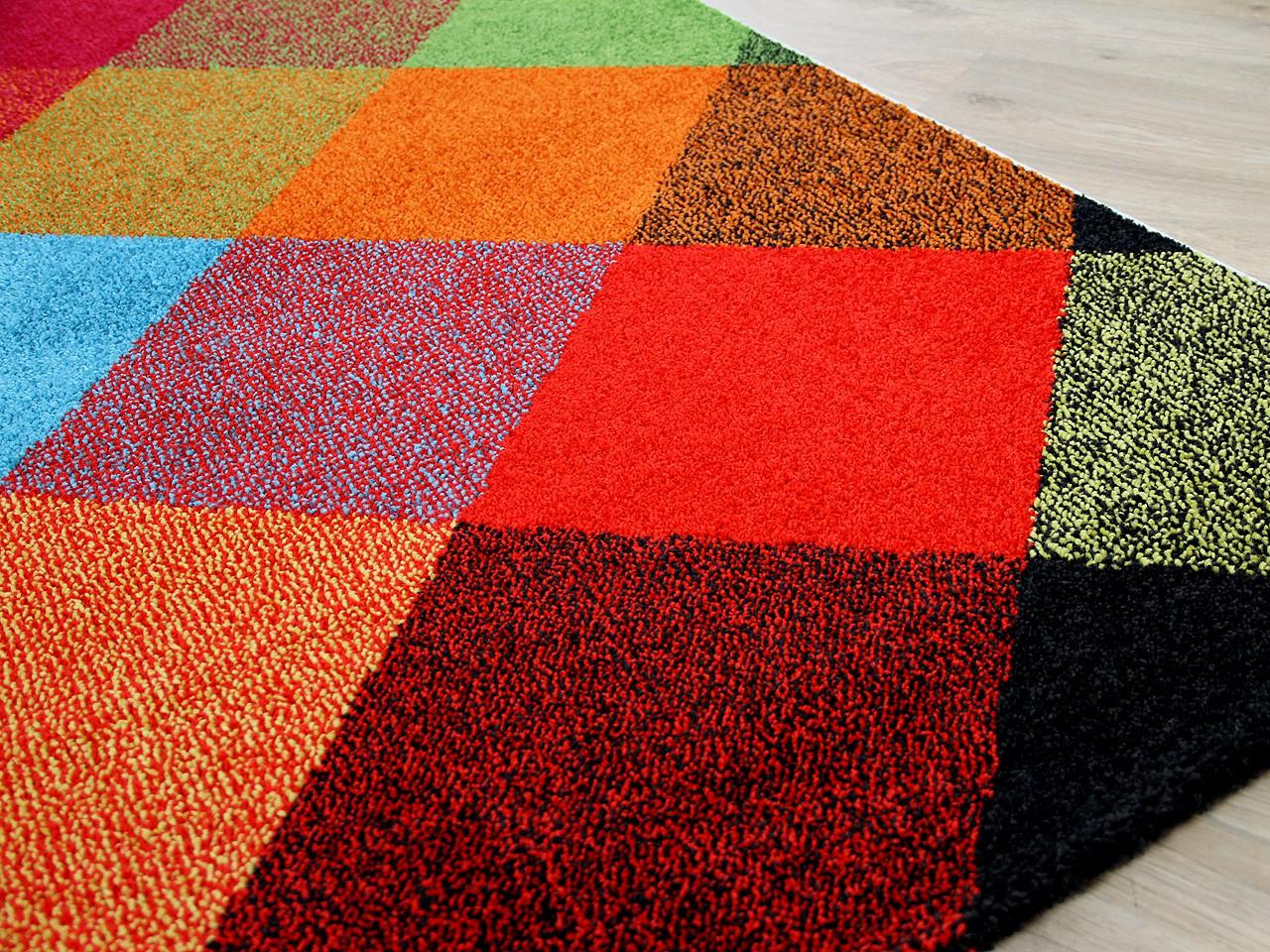 Designer Teppich Funky Karo Bunt Teppiche Designerteppiche