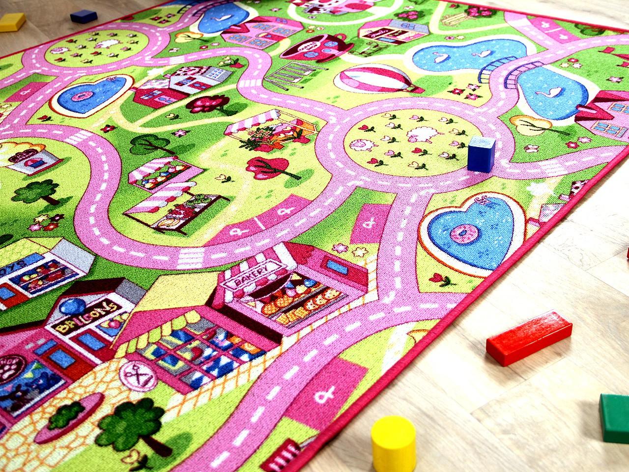 Kinder Spiel Teppich Girls Rosa Village Teppiche Kinde
