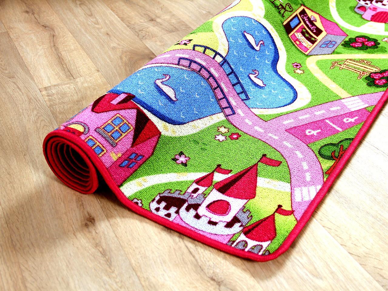 Kinder Spiel Teppich Girls Rosa Village Teppiche Kinder