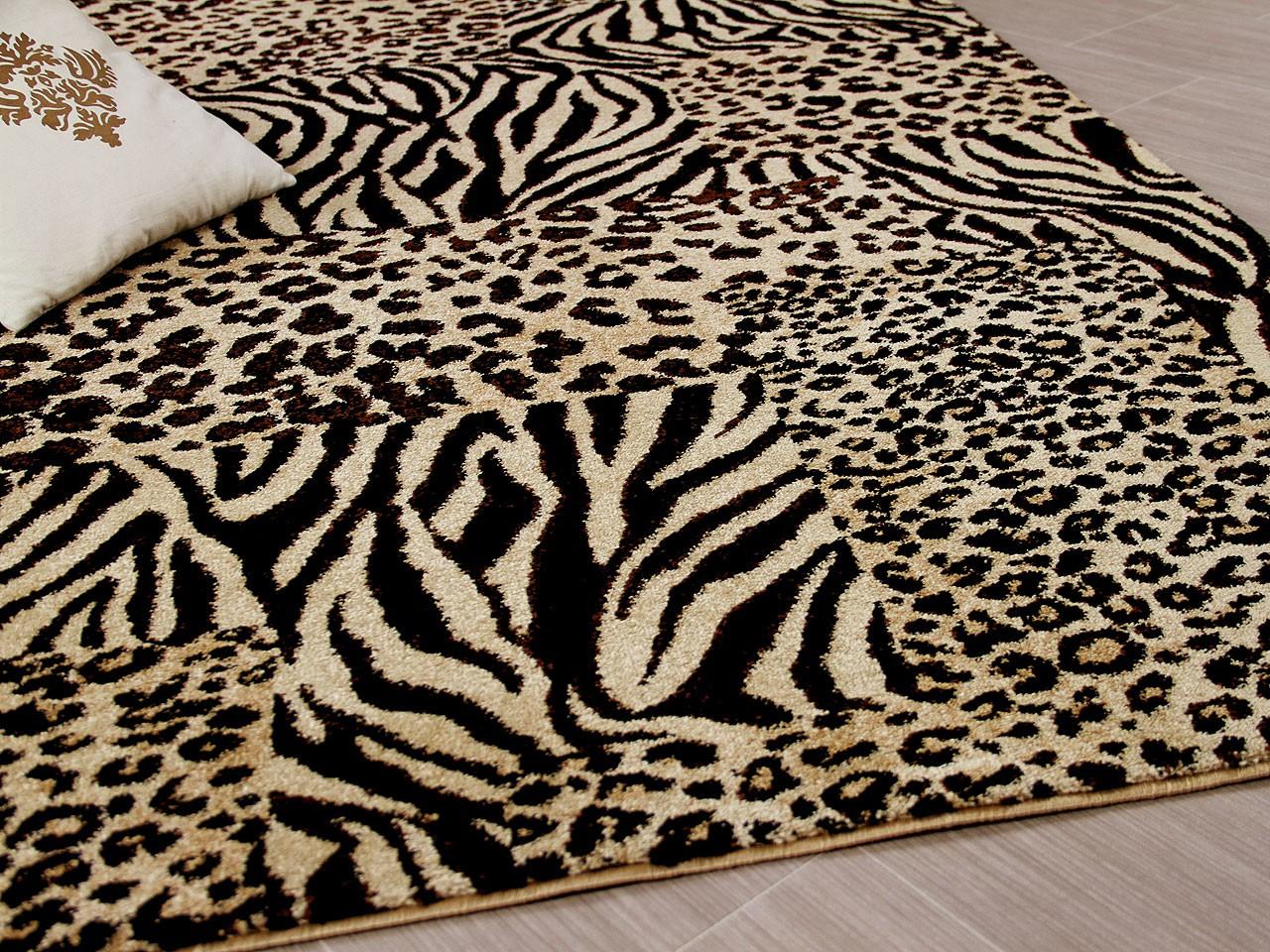 Designer Teppich Suite Leopard Zebra Beige Teppiche