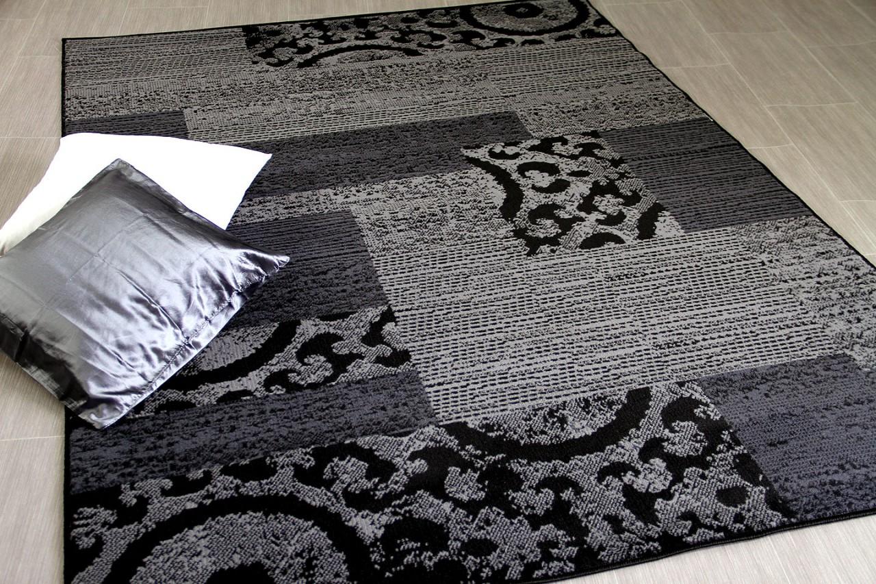 teppich trendline patchwork schwarz grau in 4 gr en. Black Bedroom Furniture Sets. Home Design Ideas