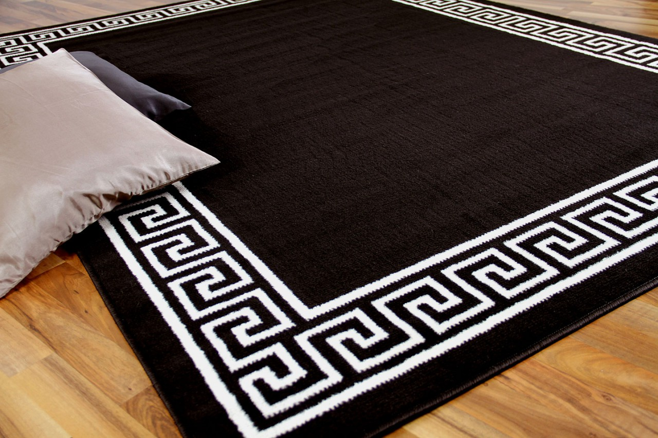 Teppich Trendline Dunkelbraun Römisch Bordüre in 4 Größen