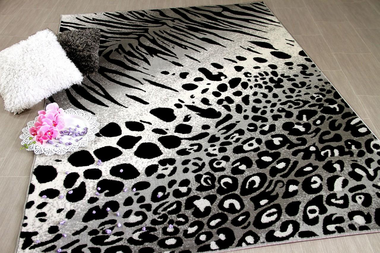 Moderner Designer Teppich Leopard Zebra Muster Beige