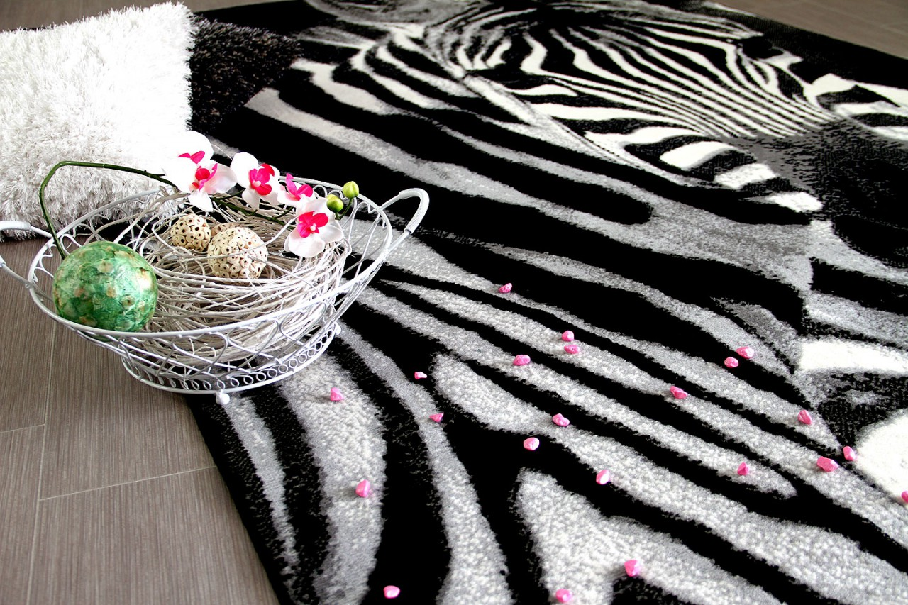 designer teppich carat zebra schwarz grau teppiche. Black Bedroom Furniture Sets. Home Design Ideas