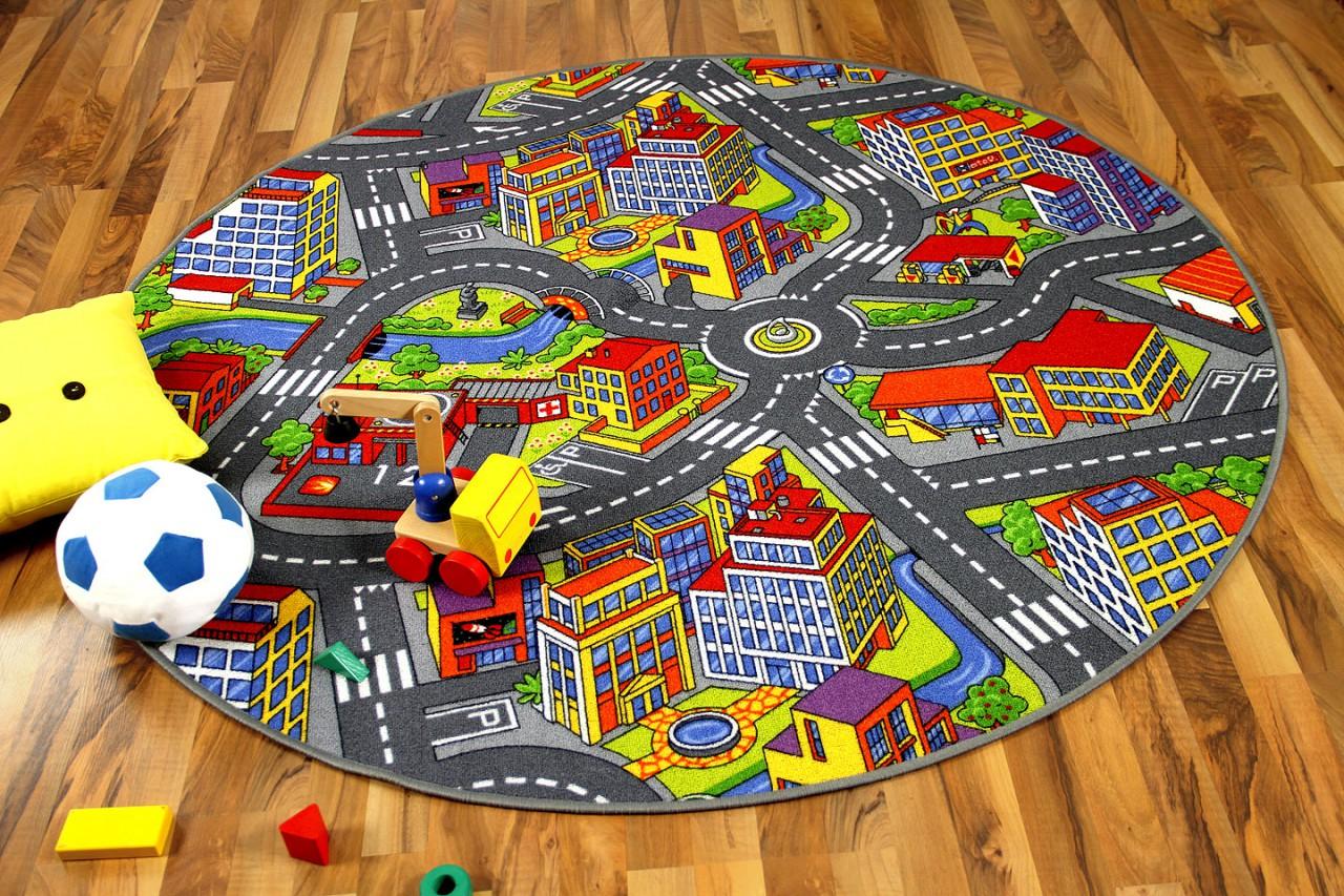 kinder spiel teppich little town 3d grau rund teppiche kinder und spielteppiche snapstyle. Black Bedroom Furniture Sets. Home Design Ideas