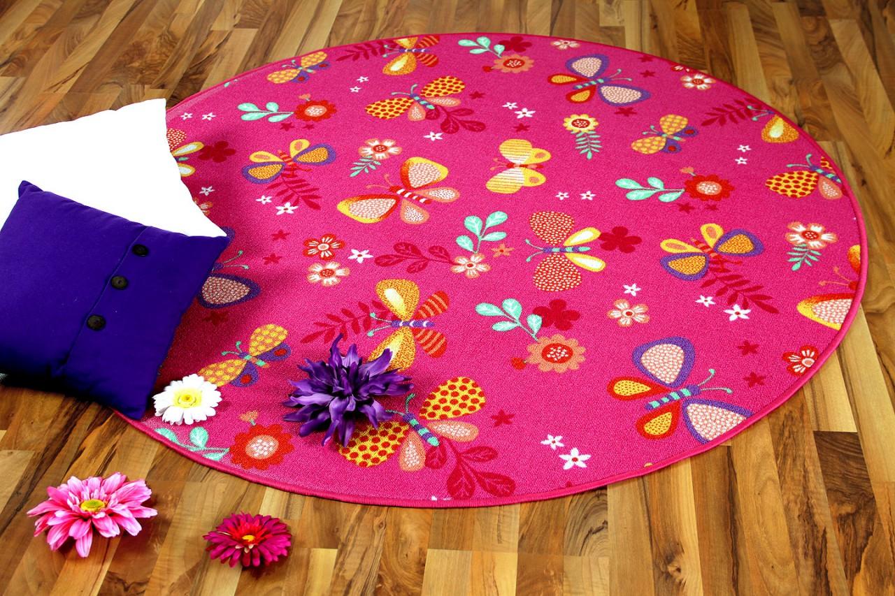 Kinder Spiel Teppich Schmetterling Pink Rund Teppiche