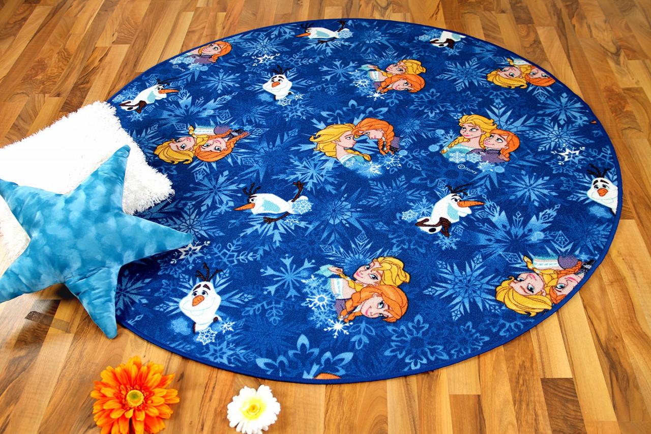 kinder spiel teppich walt disney frozen blau rund ebay. Black Bedroom Furniture Sets. Home Design Ideas