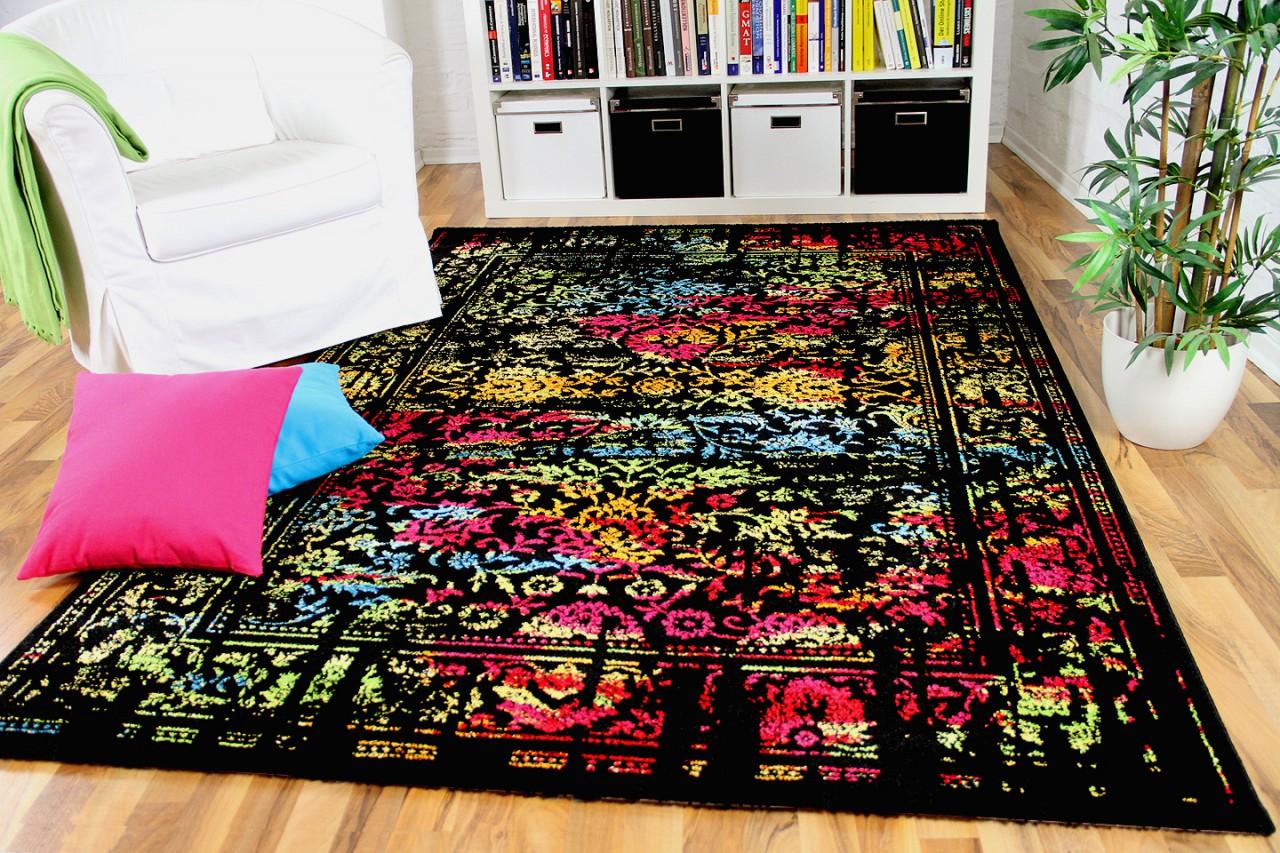 designer gabbeh teppich vintage orient schwarz bunt. Black Bedroom Furniture Sets. Home Design Ideas