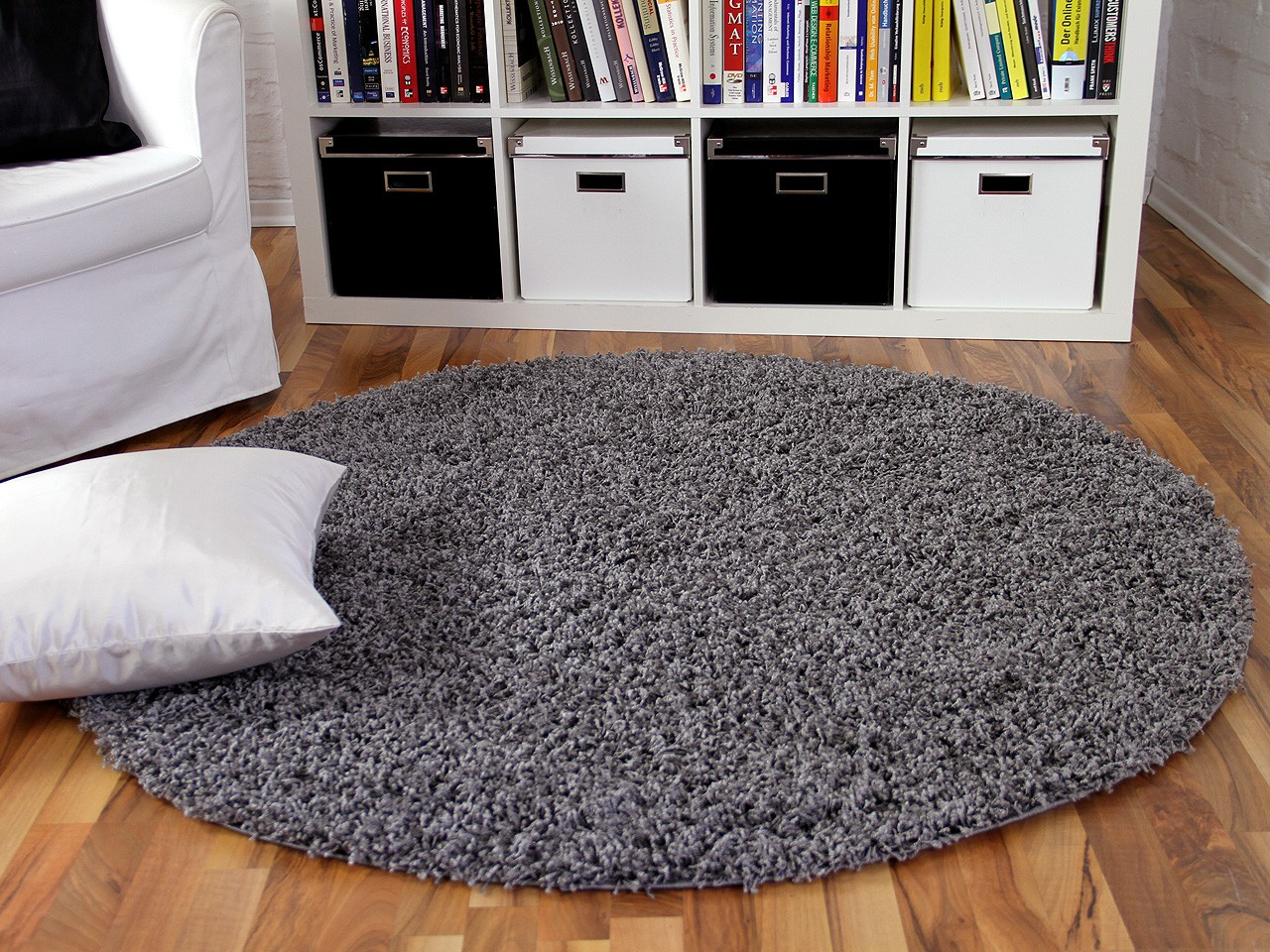 hochflor langflor shaggy teppich aloha anthrazit rund teppiche hochflor langflor teppiche. Black Bedroom Furniture Sets. Home Design Ideas