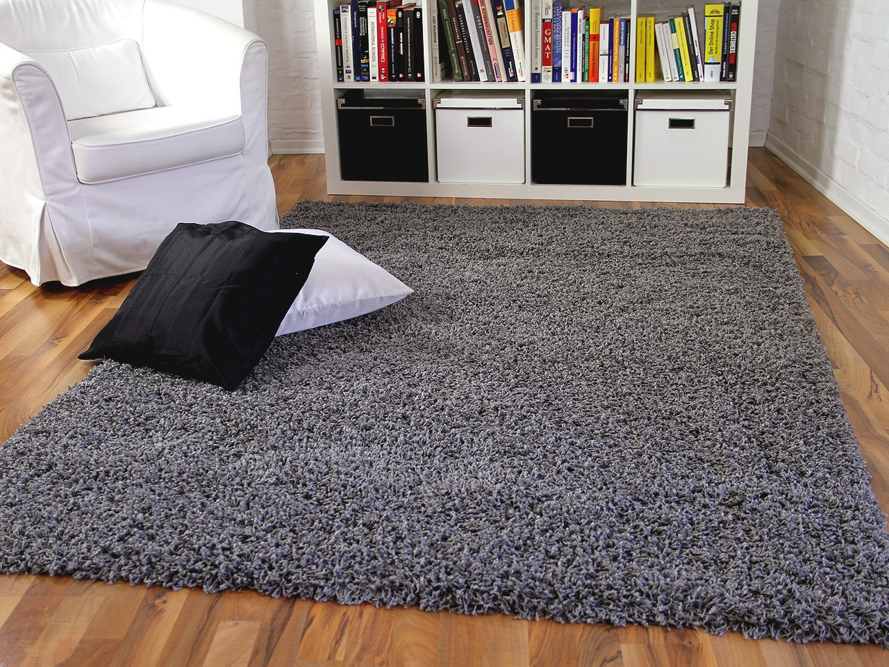 hochflor langflor shaggy teppich aloha anthrazit ebay. Black Bedroom Furniture Sets. Home Design Ideas
