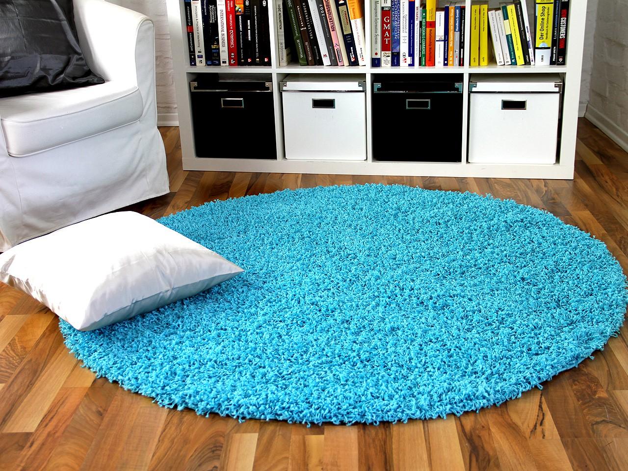 hochflor langflor shaggy teppich aloha aqua rund teppiche hochflor langflor teppiche gr n und blau. Black Bedroom Furniture Sets. Home Design Ideas