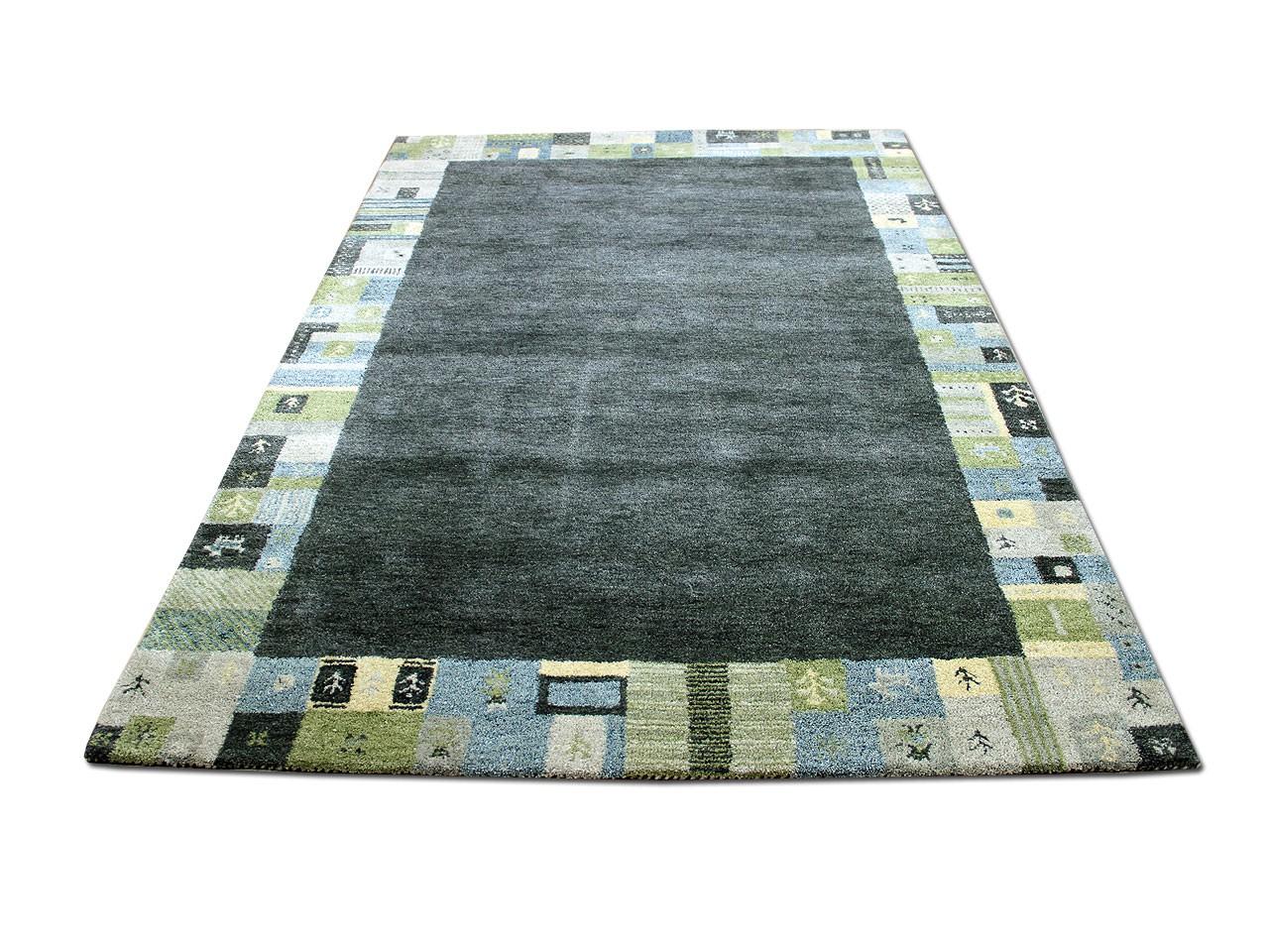 natur teppich indo gabbeh esta grau gr n bord re teppiche. Black Bedroom Furniture Sets. Home Design Ideas
