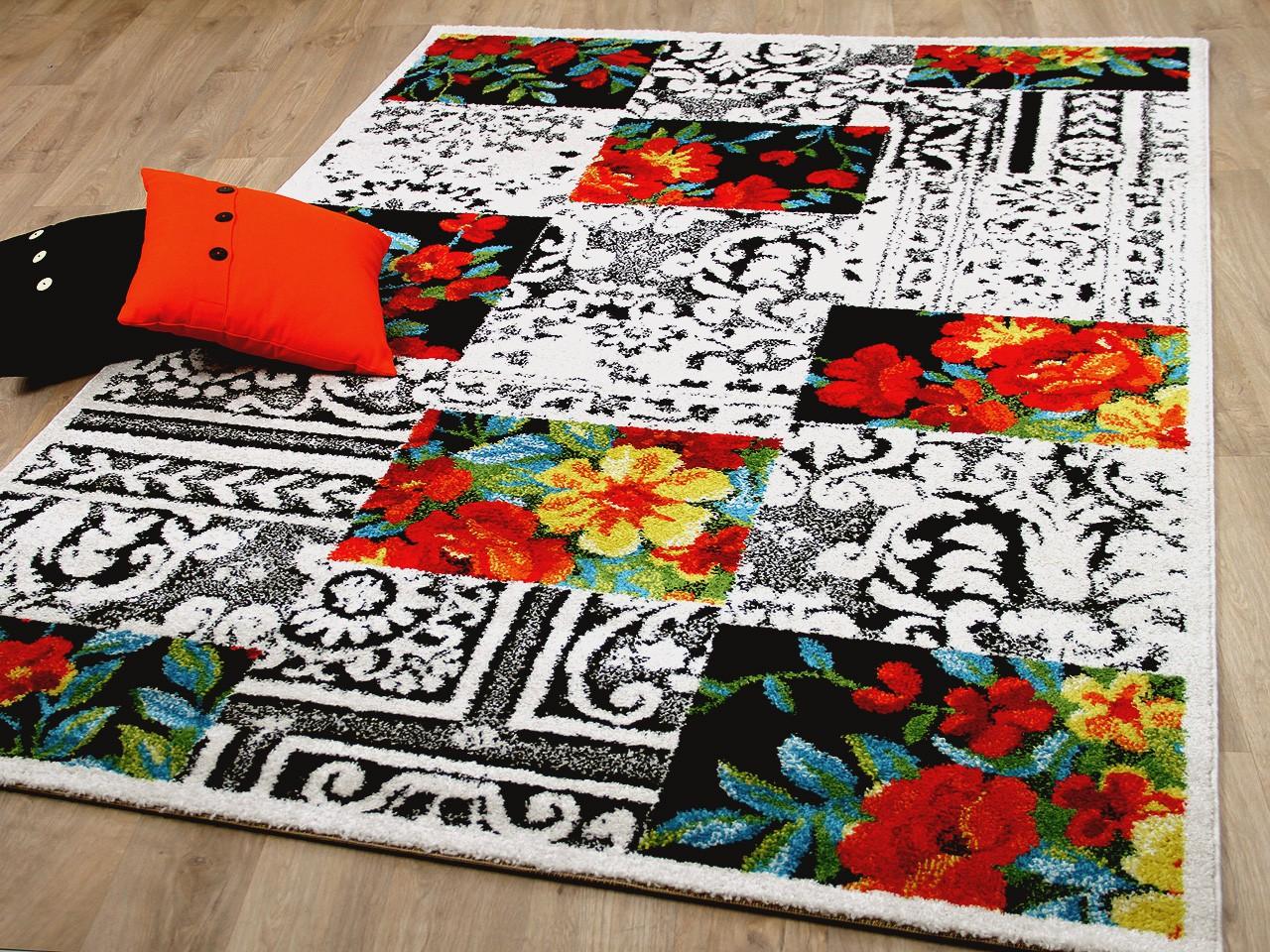 designer teppich funky blumen karo bunt teppiche designerteppiche funky teppiche. Black Bedroom Furniture Sets. Home Design Ideas