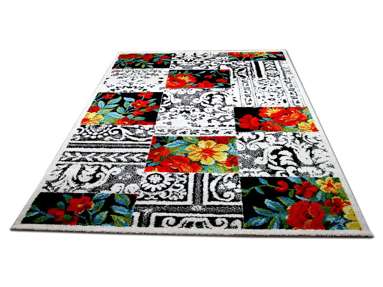 Designer Teppich Funky Blumen Karo Bunt Teppiche