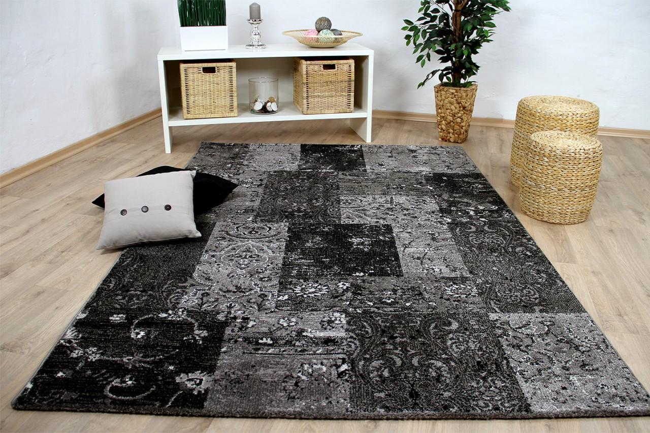 designer teppich sevilla modern anthrazit karo barock teppiche designerteppiche sevilla teppiche. Black Bedroom Furniture Sets. Home Design Ideas