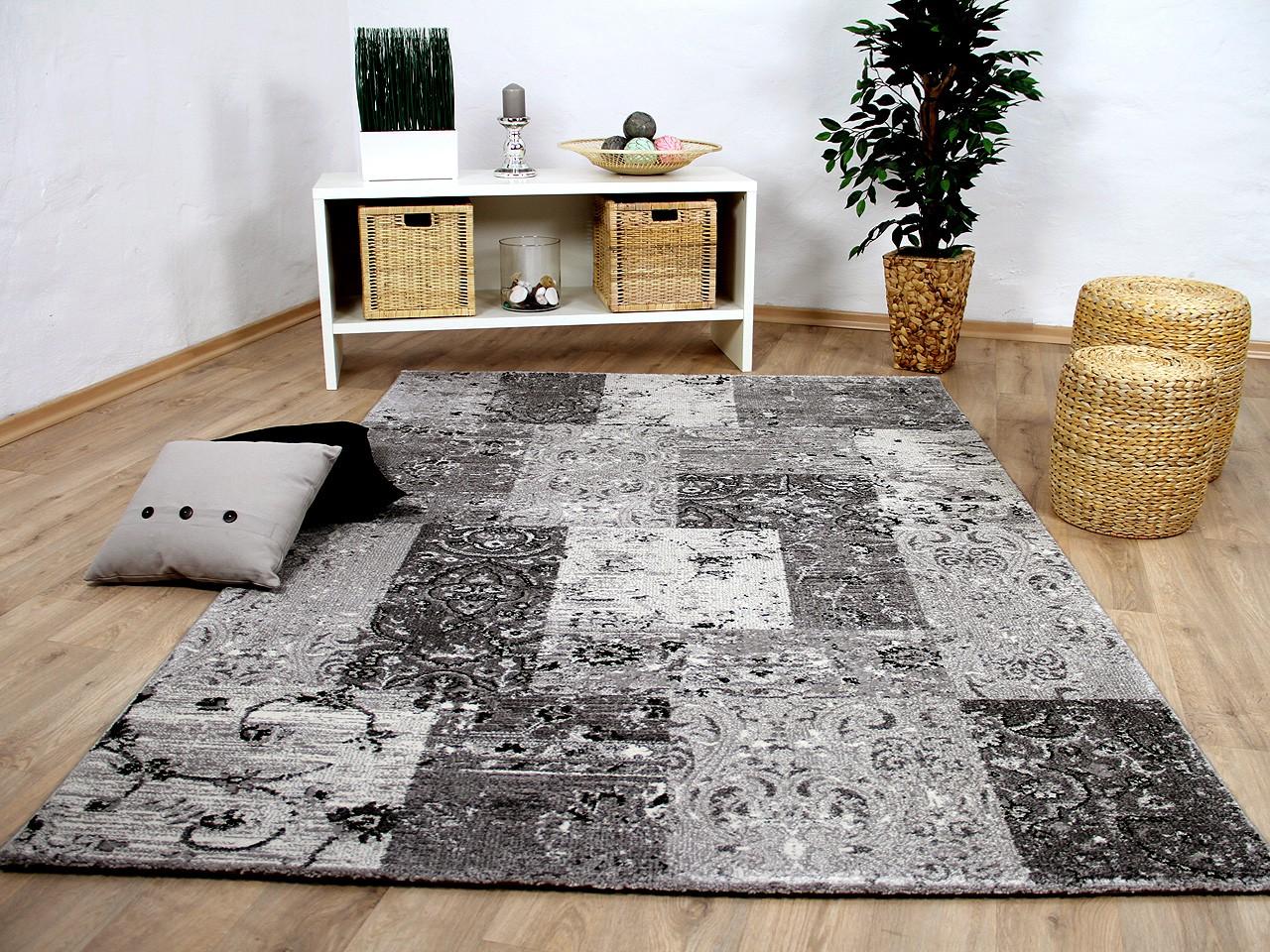 designer teppich sevilla modern grau karo barock teppiche designerteppiche sevilla teppiche. Black Bedroom Furniture Sets. Home Design Ideas
