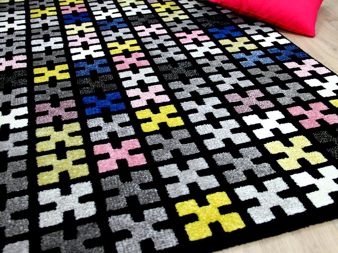 designer teppich sevilla modern schwarz bunt pixel. Black Bedroom Furniture Sets. Home Design Ideas