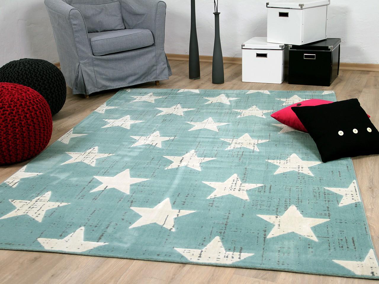 SoftTouch Velours Designer Teppich Canvas Sterne Mintgrün