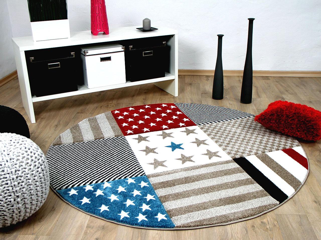 kinder und jugend teppich maui sterne rot blau rund ebay. Black Bedroom Furniture Sets. Home Design Ideas
