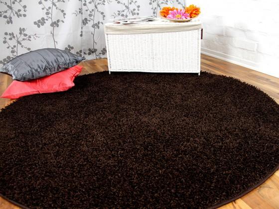 hochflor langflor teppich shaggy nova braun rund