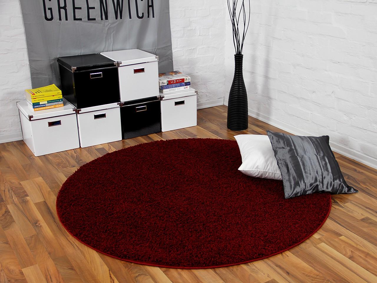 Teppich Hochflor Shaggy Premio Weinrot Rund in 7 Größen