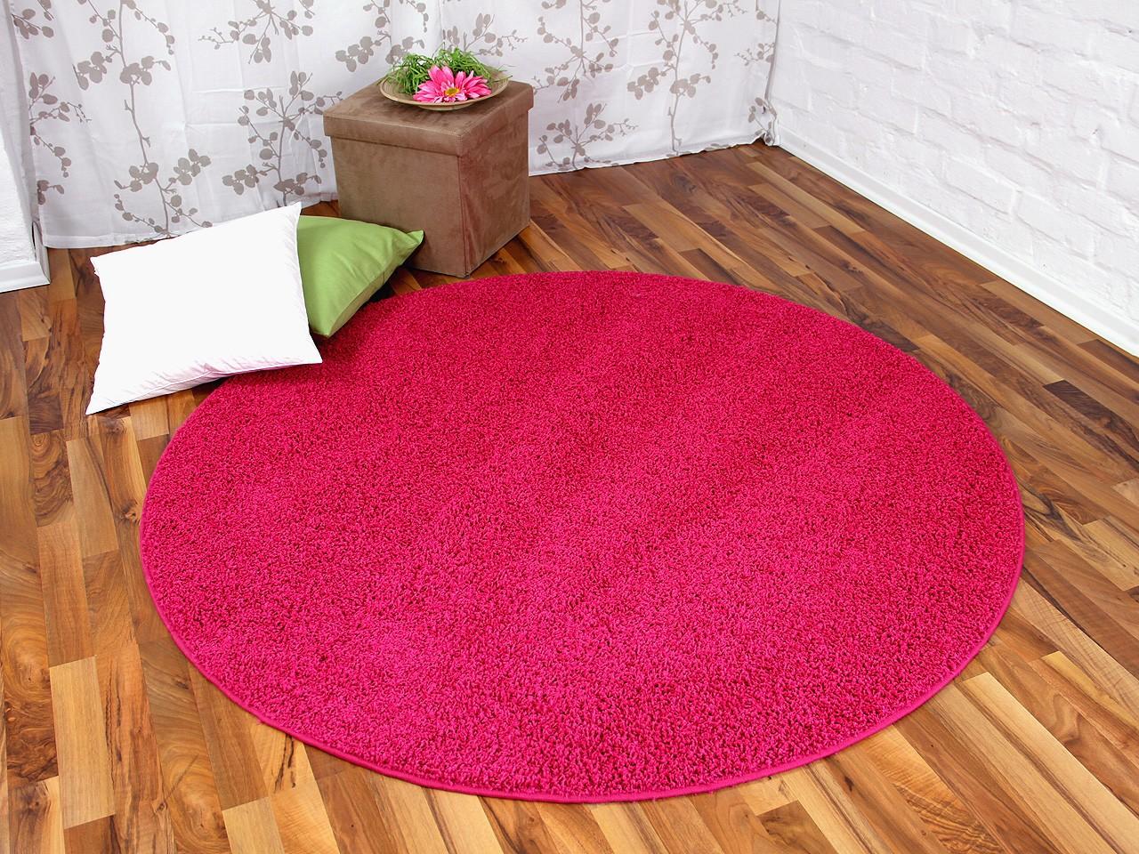 hochflor shaggy teppich prestige pink rund in 7 gr en teppiche hochflor langflor teppiche pink. Black Bedroom Furniture Sets. Home Design Ideas
