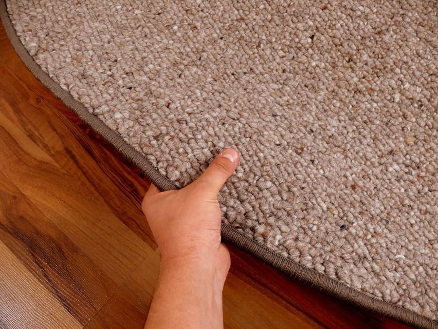Berber Natur Teppich Wolle Malta Braun Rund in 7 Größen