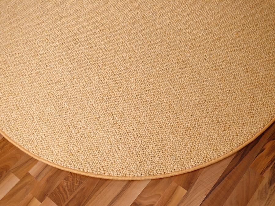 Berber Natur Teppich Wolle Malta Honig Rund  ABVERKAUF