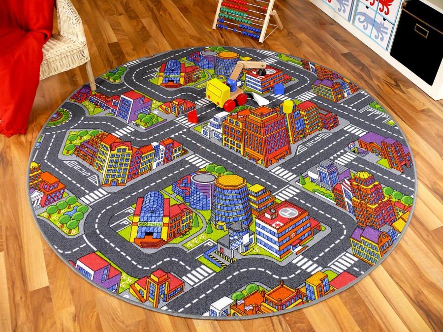 kinder spiel teppich stra enteppich 3d big city grau rund in 7 gr en teppiche kinder und. Black Bedroom Furniture Sets. Home Design Ideas