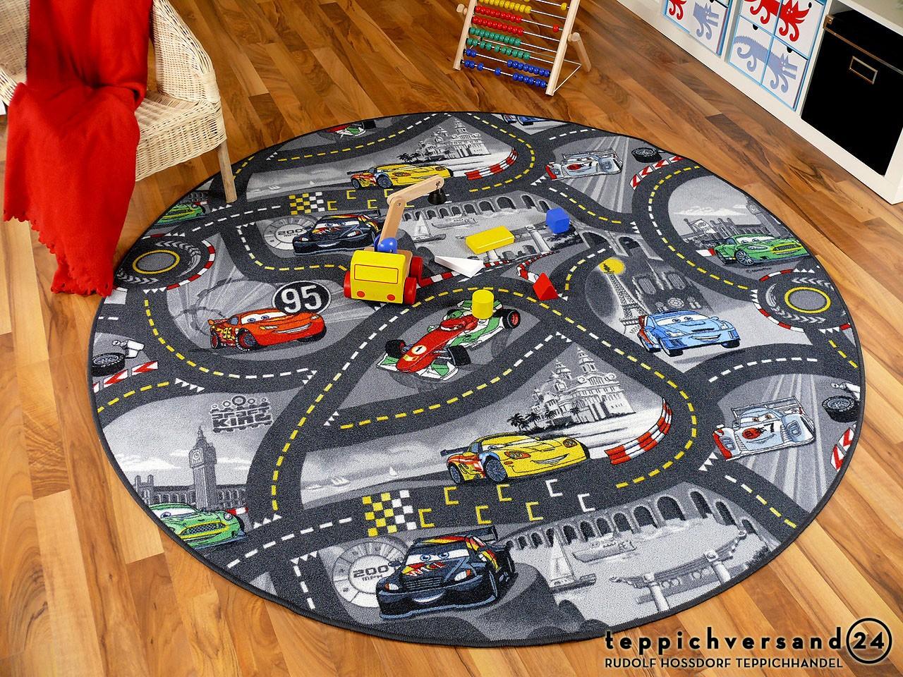 Kinder Spiel Teppich Walt Disney Cars Auto Grau Rund in 7