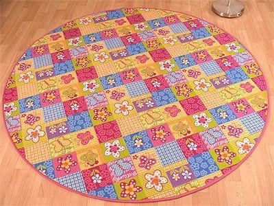 kinder spiel teppich pink bunt patchwork rund in 7 gr en. Black Bedroom Furniture Sets. Home Design Ideas