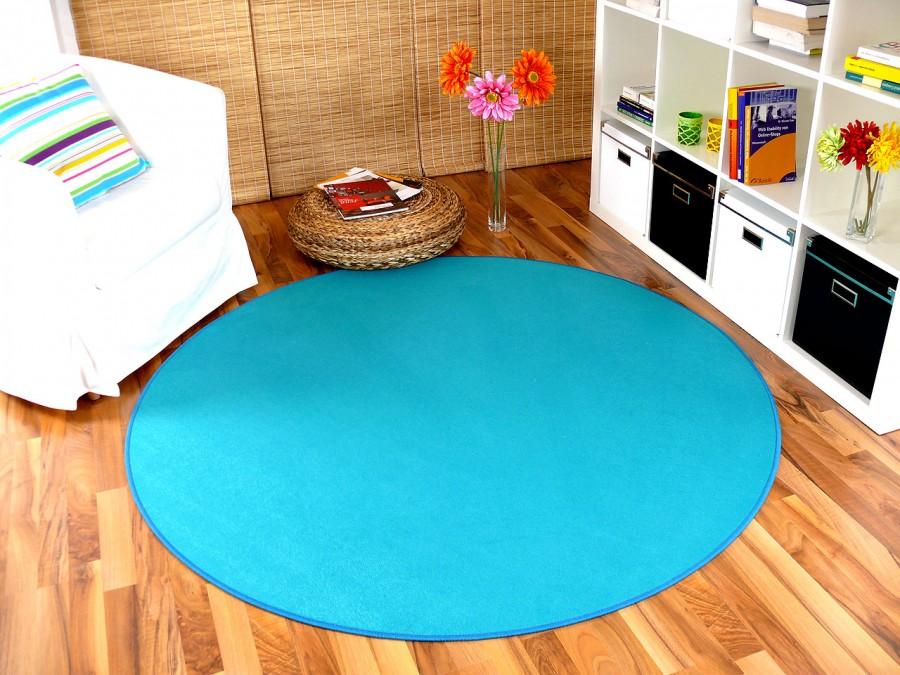 basic velours teppich carla t rkis rund in 4 gr en. Black Bedroom Furniture Sets. Home Design Ideas