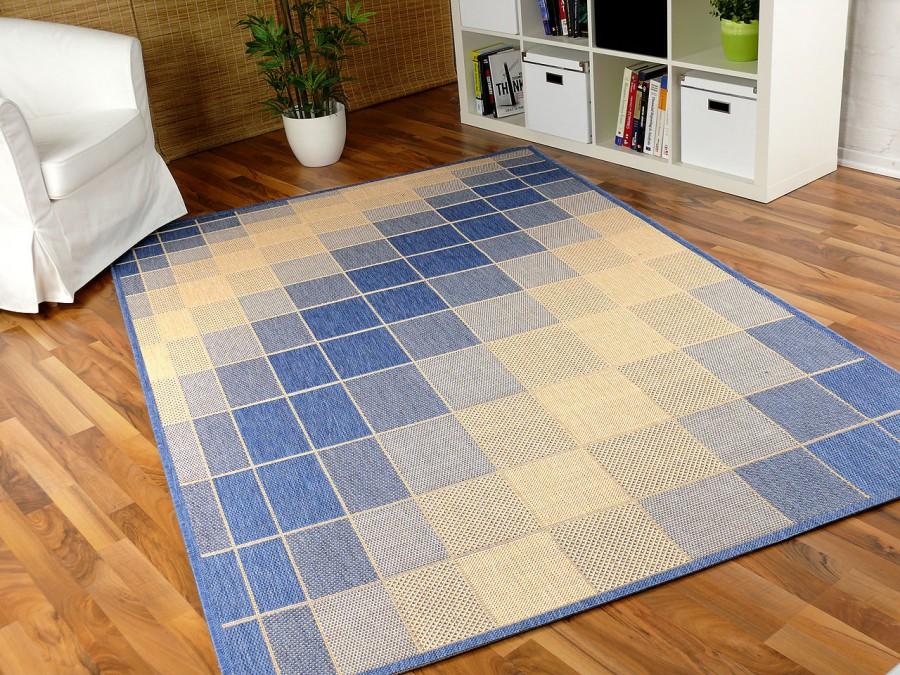 teppich flachgewebe ruggy blau beige abverkauf teppiche sisal und naturteppiche designer. Black Bedroom Furniture Sets. Home Design Ideas