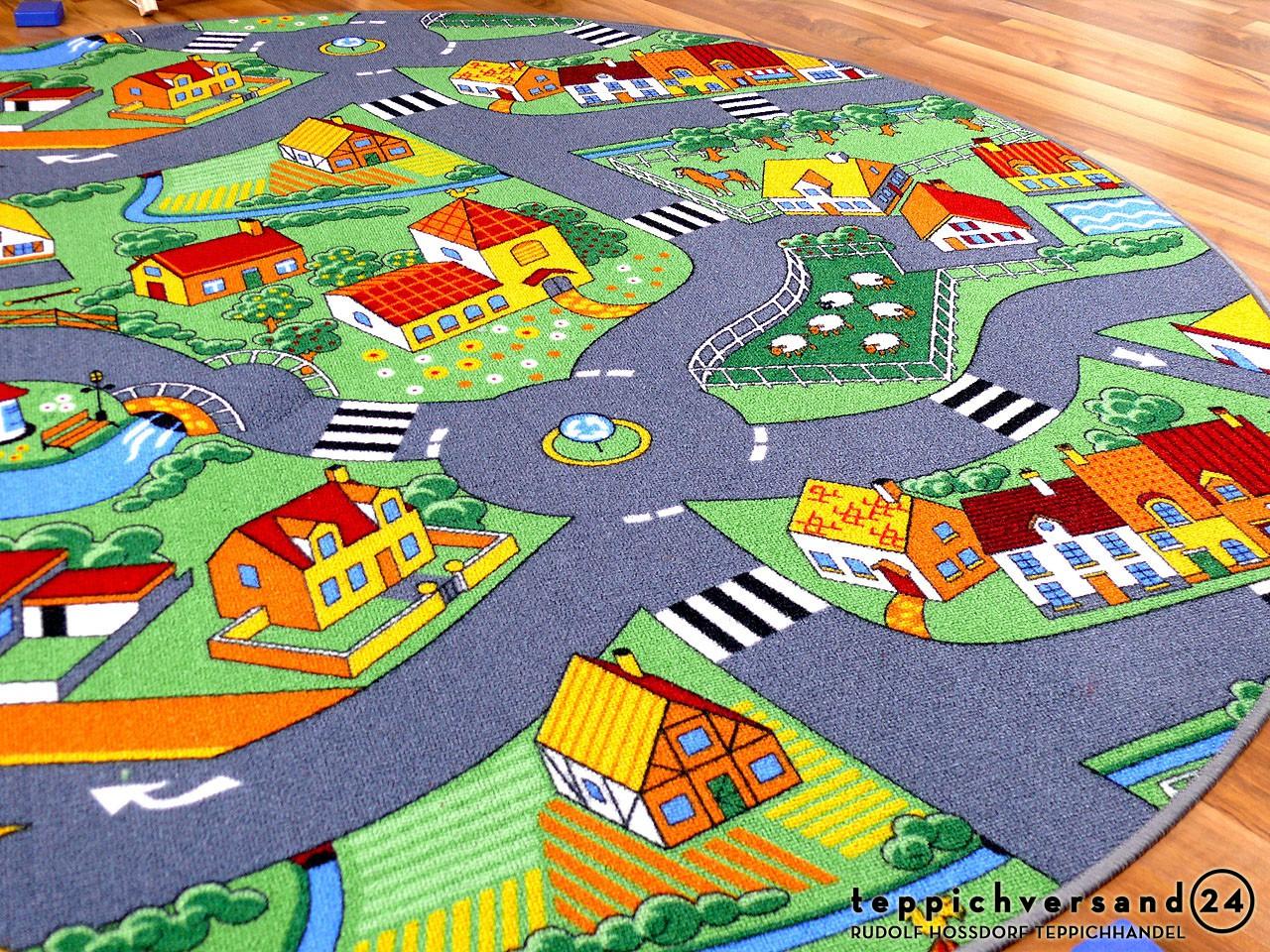kinder spiel teppich little village gr n rund in 7 gr en teppiche kinder und spielteppiche. Black Bedroom Furniture Sets. Home Design Ideas