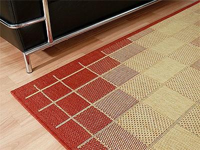 teppich flachgewebe ruggy rot beige abverkauf teppiche sisal und naturteppiche designer. Black Bedroom Furniture Sets. Home Design Ideas