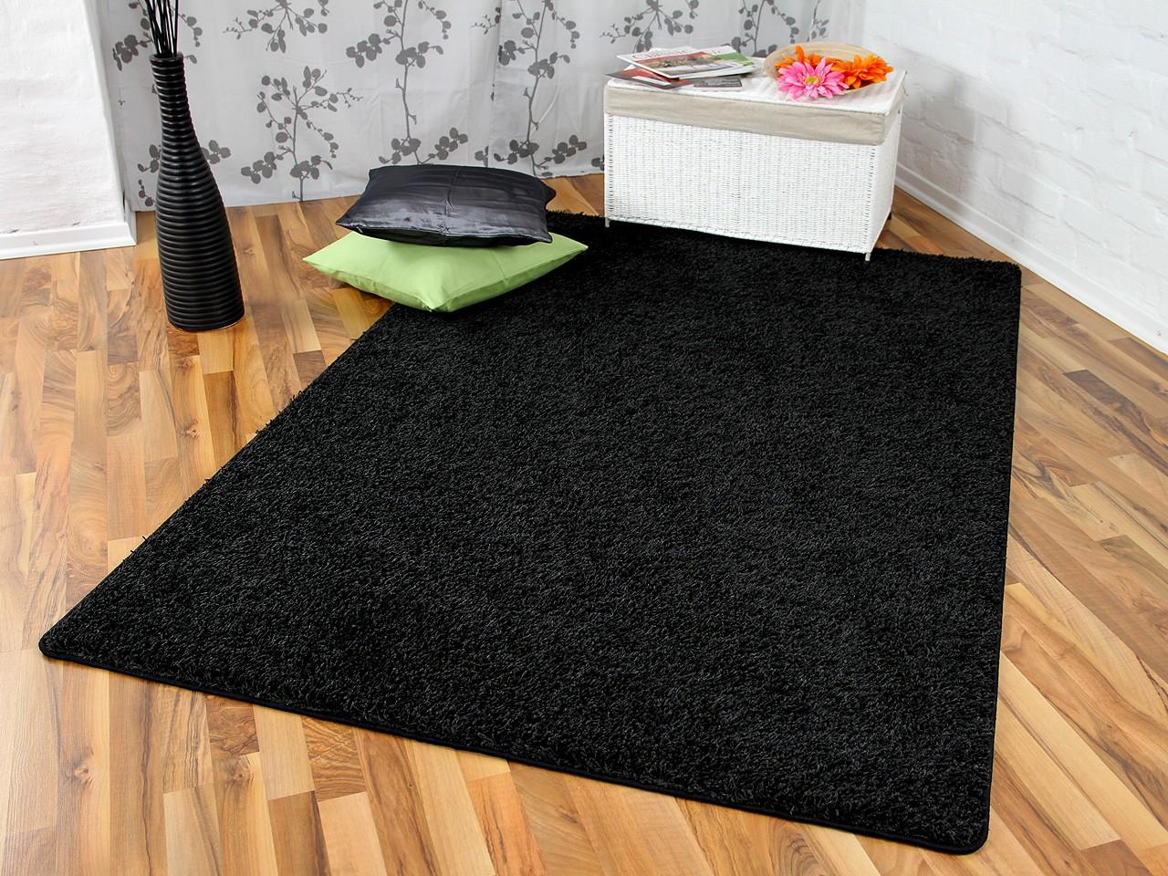 hochflor langflor teppich shaggy nova schwarz. Black Bedroom Furniture Sets. Home Design Ideas