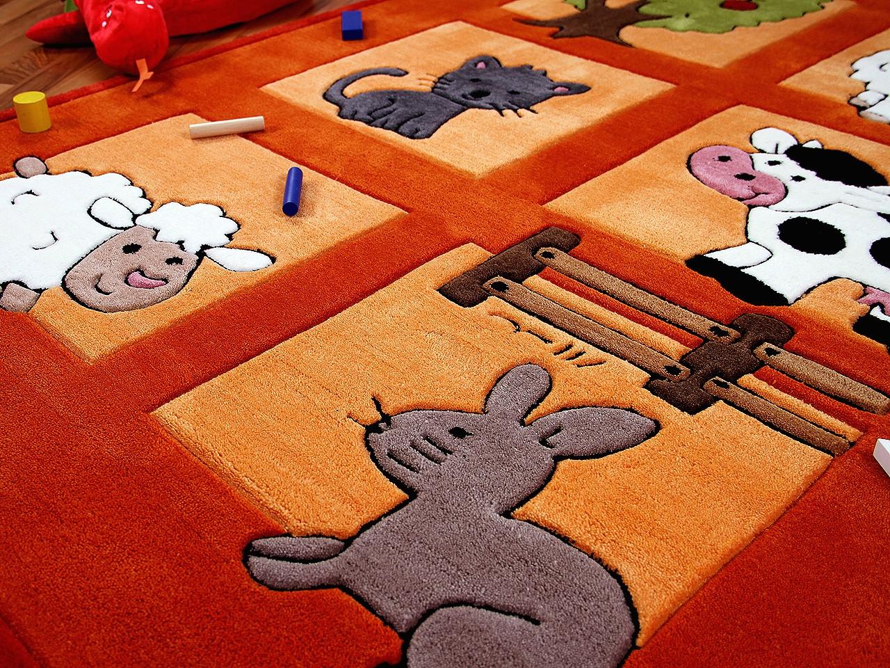 Lifestyle Kinderteppich Bauernhof Orange Sofort