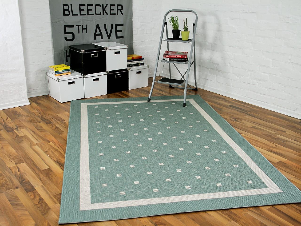 Modern Flachgewebe Ruggy Mintgrün Bordüre Teppiche Sisal
