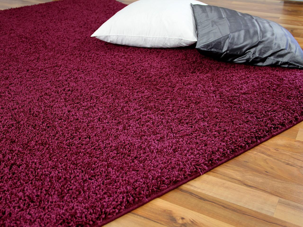 teppich hochflor shaggy premio burgund in 24 gr en. Black Bedroom Furniture Sets. Home Design Ideas